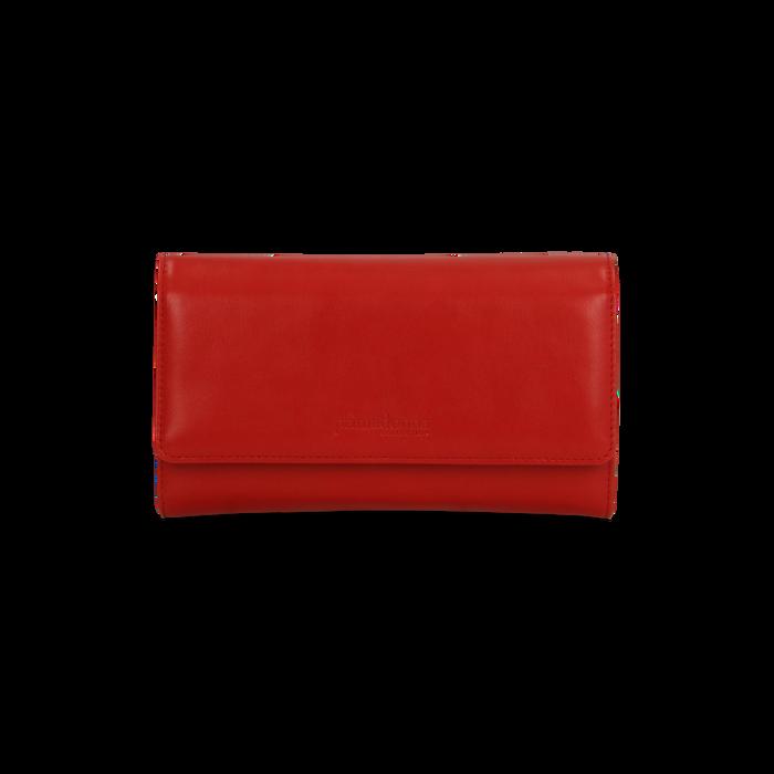Portafoglio rosso in ecopelle, Saldi, 122200898EPROSSUNI