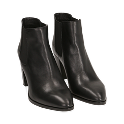 Chelsea boots neri in pelle di vitello, tacco 7 cm, Primadonna, 15J492446VINERO036, 002 preview