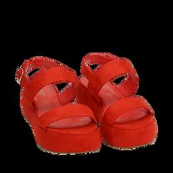 Sandali rossi in microfibra, zeppa 5 cm , Zapatos, 159790136MFCORA036, 002a
