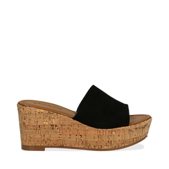 Zeppe platform nere in microfibra, zeppa in sughero 8 cm, Saldi Estivi, 134955111MFNERO035, 001a