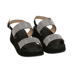 Sandali neri in microfibra, zeppa 4,50 cm , Scarpe, 154991102MPNERO036, 002 preview