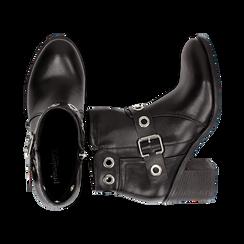 Ankle boots neri in eco-pelle con oblò, tacco 7 cm, Scarpe, 130682986EPNERO036, 003 preview