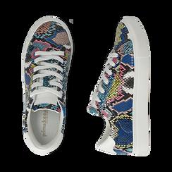 Sneakers nero/blu stampa pitone, Scarpe, 152607101PTNEBL, 003 preview