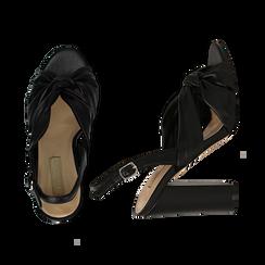 Sandali neri in eco-pelle con nodo, tacco 10 cm, Sandali con tacco, 132760842EPNERO, 003 preview