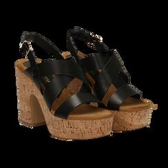 Sandali neri in eco-pelle, tacco in sughero 11 cm,