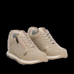 Sneakers beige in microfibra con zip , Scarpe, 132899172MFBEIG037, 002a