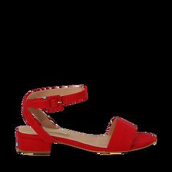 Sandali bassi rossi in microfibra, tacco 3,50 cm, Scarpe, 134819193MFROSS035, 001a