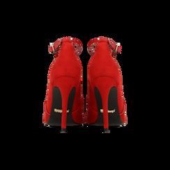 Décolleté rosse sagomate con cinturino, tacco 10,5 cm, Scarpe, 122186724MFROSS, 003 preview