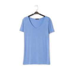 T-shirt con scollo a V blu in tessuto, Saldi Estivi, 13F750713TSBLUEL, 001a