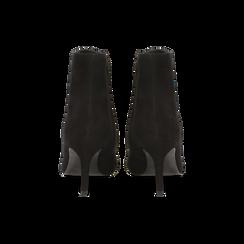 Tronchetti neri in vero camoscio, tacco midi 8 cm, Primadonna, 12D618502CMNERO, 003 preview