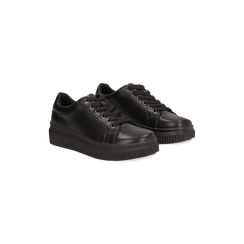 Sneakers nere effetto mirror e suola nera, Scarpe, 129312321EPNERO, 002