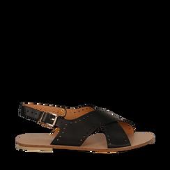 Sandali flat neri in eco-pelle, con lavorazione lasercut, Primadonna, 113010566EPNERO036, 001a