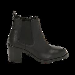 Ankle boots neri in pelle, tacco 4,50 cm, Primadonna, 169495750PENERO035, 001 preview