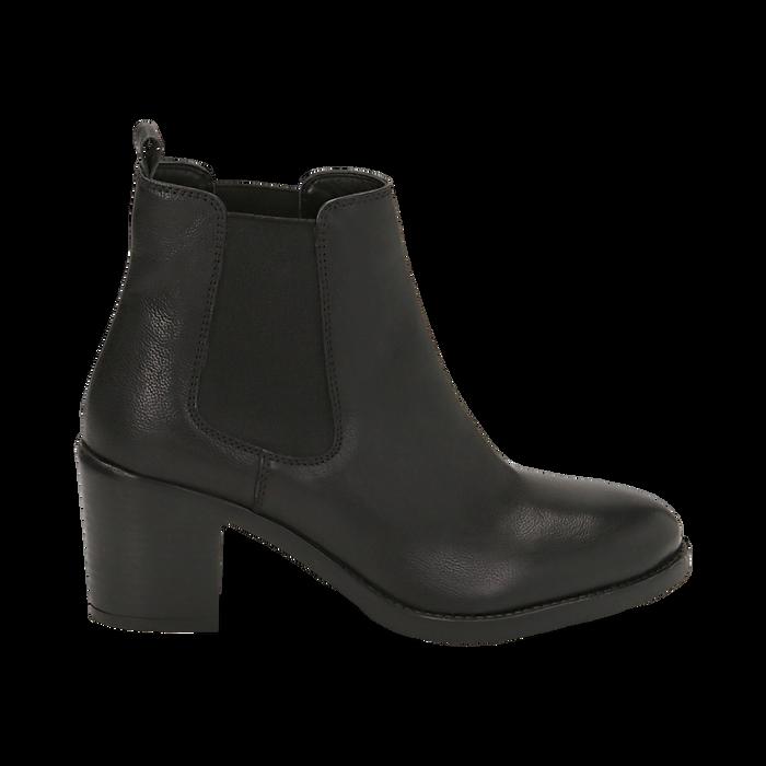 Ankle boots neri in pelle, tacco 4,50 cm, Primadonna, 169495750PENERO035