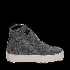 Sock Sneakers grigie in tessuto laminato argento, Scarpe, 117200001LMARGE036, 001a