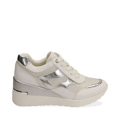 Sneakers bianche, zeppa 7 cm , Primadonna, 177516594EPBIAN037, 001a