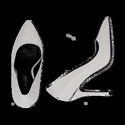 Décolleté bianche in eco-pelle, tacco 11 cm , Scarpe, 142146861EPBIAN036, 003 preview