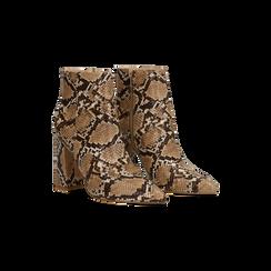 Tronchetti Snake Print in ecopelle, tacco quadrato 9,5 cm, Scarpe, 122166720PTTAUP035, 002