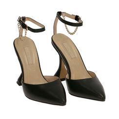 Sandalias de microfibra negra, tacón 9,5 cm, Primadonna, 172190575EPNERO035, 002a