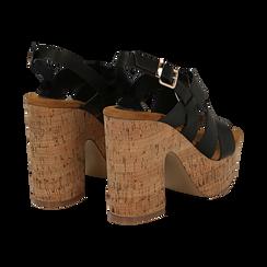 Sandali neri in eco-pelle, tacco in sughero 11 cm, Saldi Estivi, 132173071EPNERO035, 004 preview
