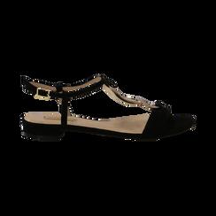 Sandali neri in microfibra con dettaglio gold, Primadonna, 139640157MFNERO036, 001 preview