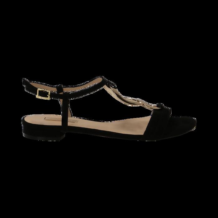 Sandali neri in microfibra con dettaglio gold, Primadonna, 139640157MFNERO036