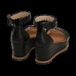 Sandali neri in eco-pelle, zeppa 6,50 cm , Scarpe, 154926113EPNERO035, 004 preview