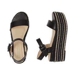 Sandali neri in eco-pelle, zeppa 7 cm , Primadonna, 154932211EPNERO035, 003 preview