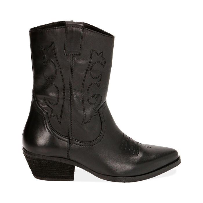Camperos en cuir noir, talon de 4,5 cm, Primadonna, 17B810809PENERO035