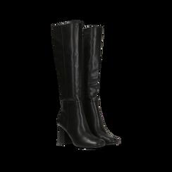 Stivali neri punta arrotondata, tacco 7,5 cm, Scarpe, 122182011EPNERO, 002 preview