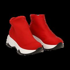 Sneakers a calza rosse in lycra, zeppa 5 cm ,