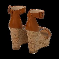 Sandali cuoio, zeppa 12 cm, Scarpe, 154981001EPCUOI, 004 preview