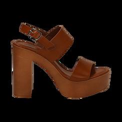 Sandali platform cuoio in eco-pelle con due fasce, tacco 12 cm , Saldi, 132147761EPCUOI035, 001 preview