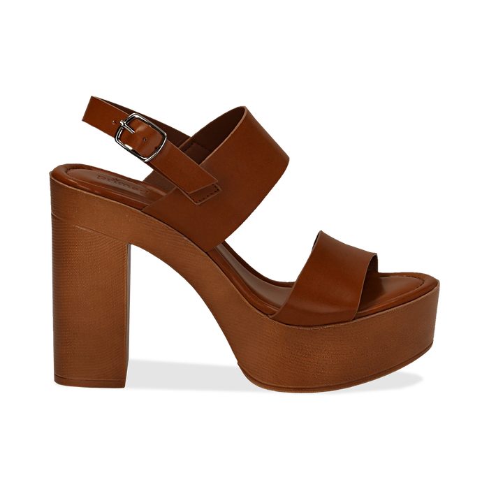 Sandali platform cuoio in eco-pelle con due fasce, tacco 12 cm , Saldi, 132147761EPCUOI035