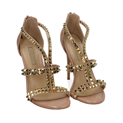 Sandali borchiati nude in vernice, tacco 11,50 cm , Primadonna, 152100920VENUDE035, 002a
