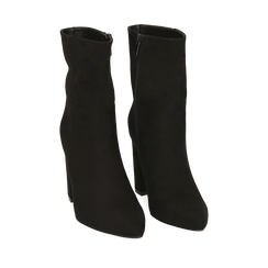 Ankle bottes en microfibre noir, talon 9,50 cm, Primadonna, 163026508MFNERO035, 002a