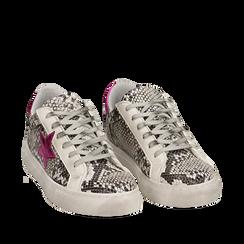 Sneakers bianco/nere stampa pitone con stella, Scarpe, 15F999101PTBINE035, 002a