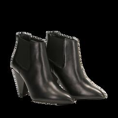 Chelsea Boots neri in vera pelle, tacco a cono 9 cm, Primadonna, 12D613910VINERO036, 002a