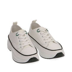 Sneakers chunky bianche in canvas, Primadonna, 17K910193CABIAN035, 002a