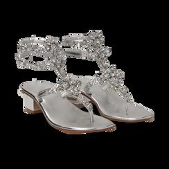 Sandali gioiello infradito argento in laminato, tacco 6 cm,