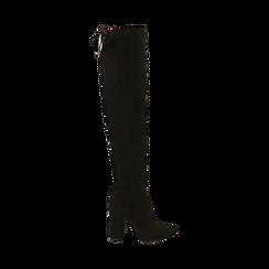 Overnkee neri in microfibra, tacco 10,50 cm , Stivali, 142186948MFNERO037, 001 preview