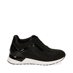 Sneakers noires en tissu technique, compensée 4 cm, Primadonna, 162826824TSNERO036, 001a