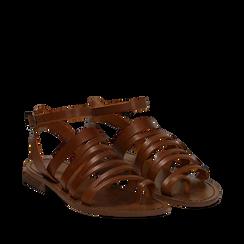 Sandali flat cuoio in pelle, Primadonna, 138100802VACUOI035, 002a