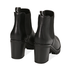 Chelsea boots neri, tacco 8 cm , PROMOZIONI, 160637851EPNERO040, 004 preview