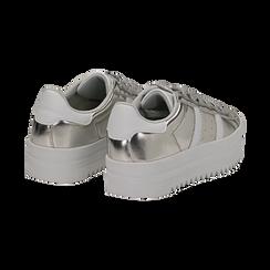 Sneakers argento in laminato con suola platform 4 cm, Scarpe, 130101010LMARGE036, 004 preview