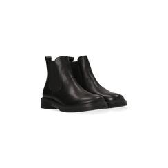 Chelsea Boots neri in vera pelle, tacco basso, 127708181VINERO038, 002