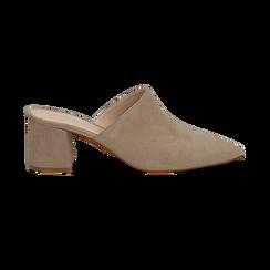 Mules taupe in camoscio con punta affusolata, tacco 6 cm, Scarpe, 13D602204CMTAUP036, 001 preview