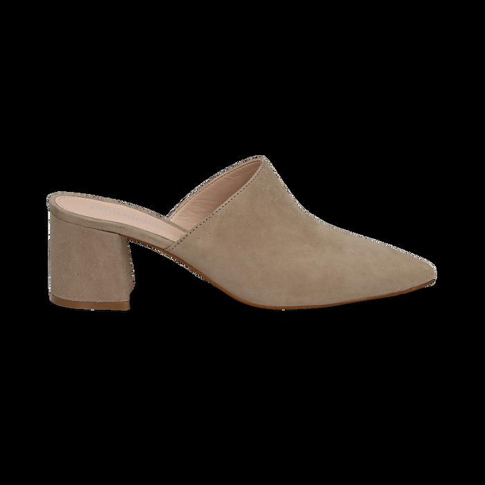 Mules taupe in camoscio con punta affusolata, tacco 6 cm, Scarpe, 13D602204CMTAUP036