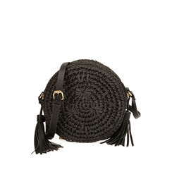 Bolso pequeño de rafia negra, Primadonna, 175123102RFNEROUNI, 001a