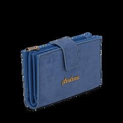 Portafogli azzurro in microfibra con 25 vani , Borse, 133322158MFAZZUUNI, 002a
